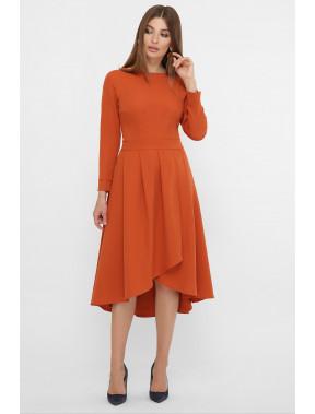 Терракотовое платье с отрезной талией Лика