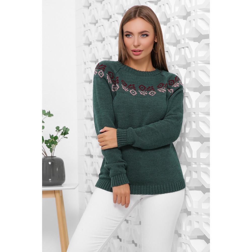 Зеленый свитер с узором Линда  фото 1