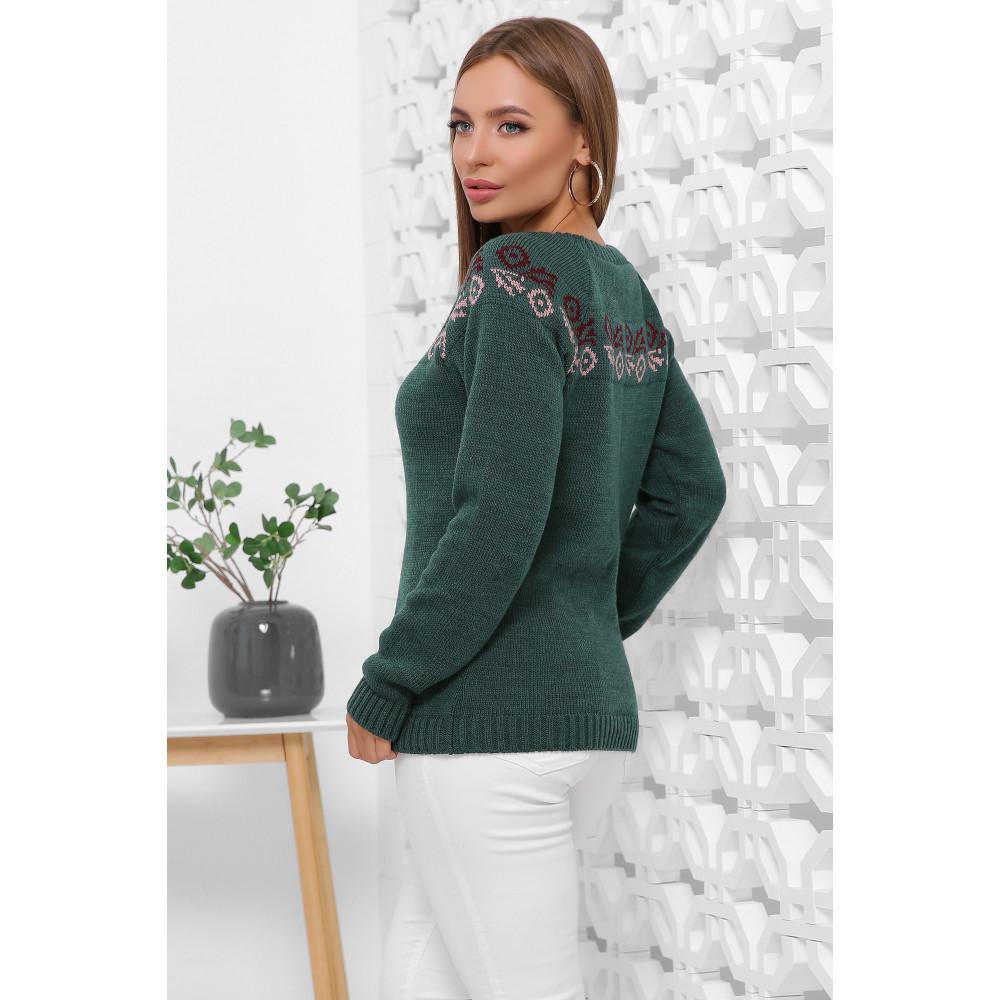 Зеленый свитер с узором Линда  фото 2