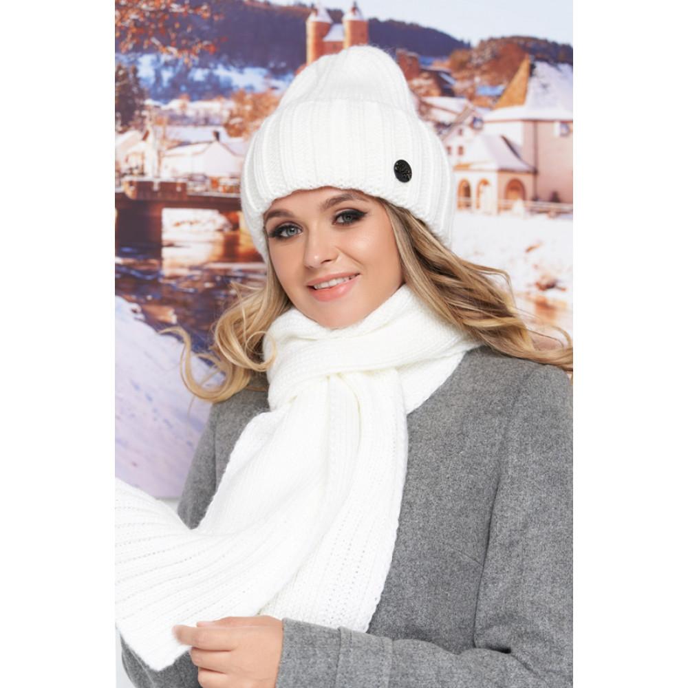 Белоснежный комплект Наоми (шапка+шарф) фото 1