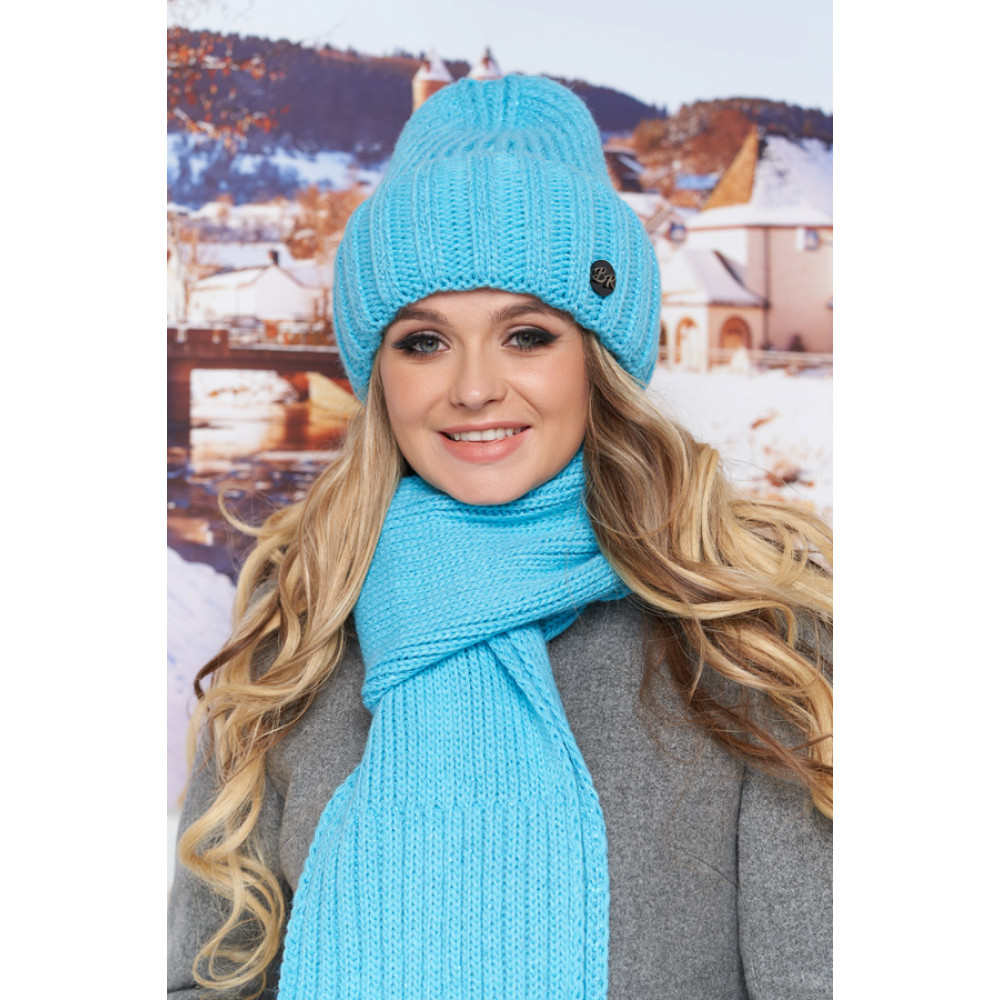 Бирюзовый комплект Наоми (шапка+шарф) фото 1