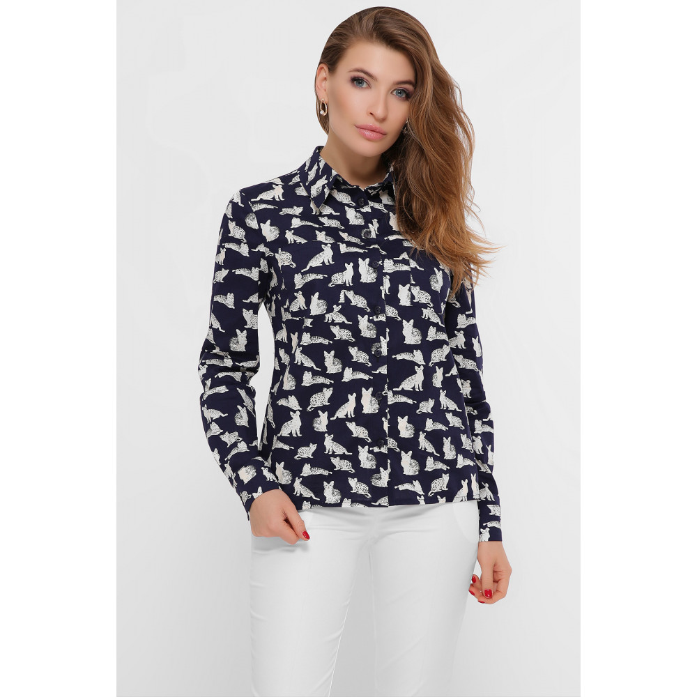 Темно-синяя рубашка с принтом Котики фото 1