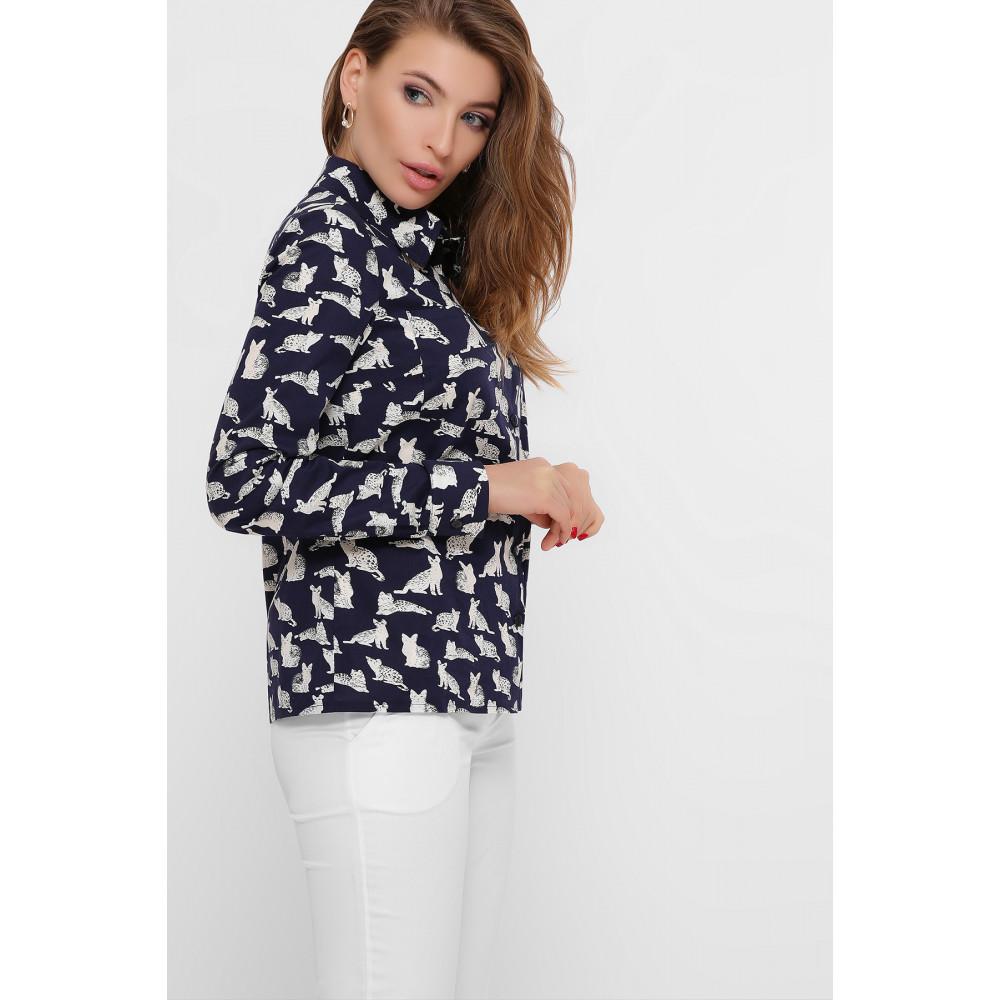 Темно-синяя рубашка с принтом Котики фото 2