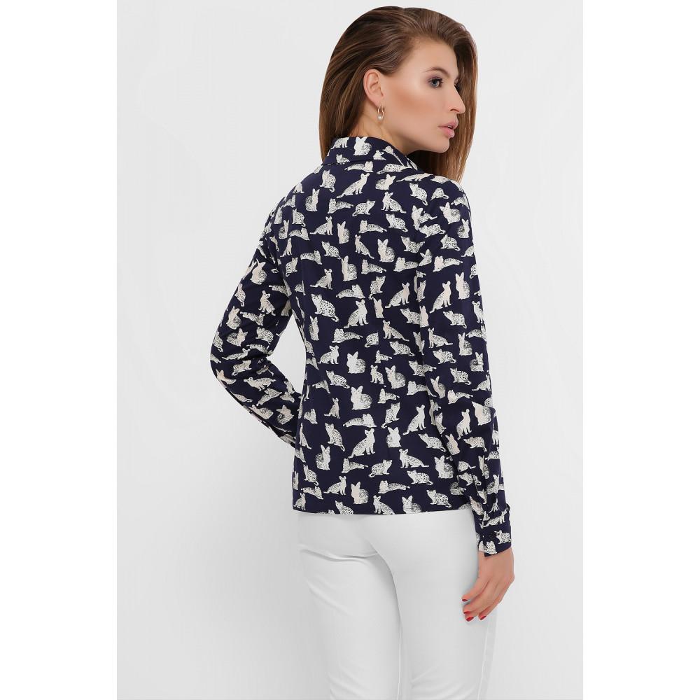 Темно-синяя рубашка с принтом Котики фото 3
