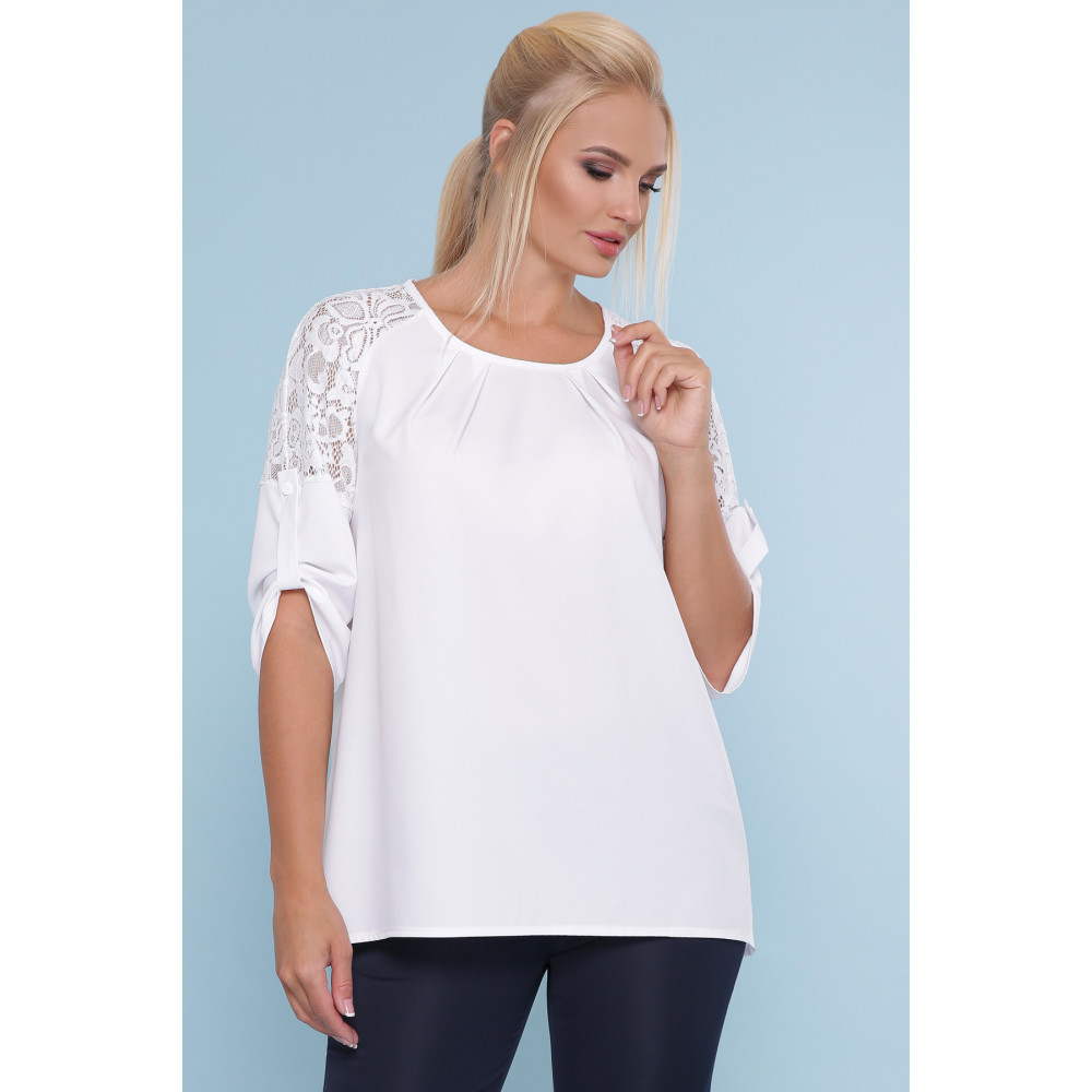 Белоснежная блузка с кружевом Гретта фото 1