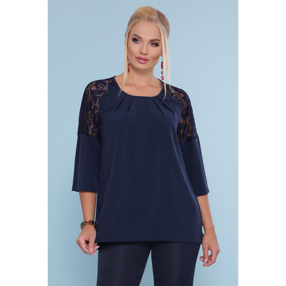 Темно-синяя блузка с кружевом Гретта фото 1