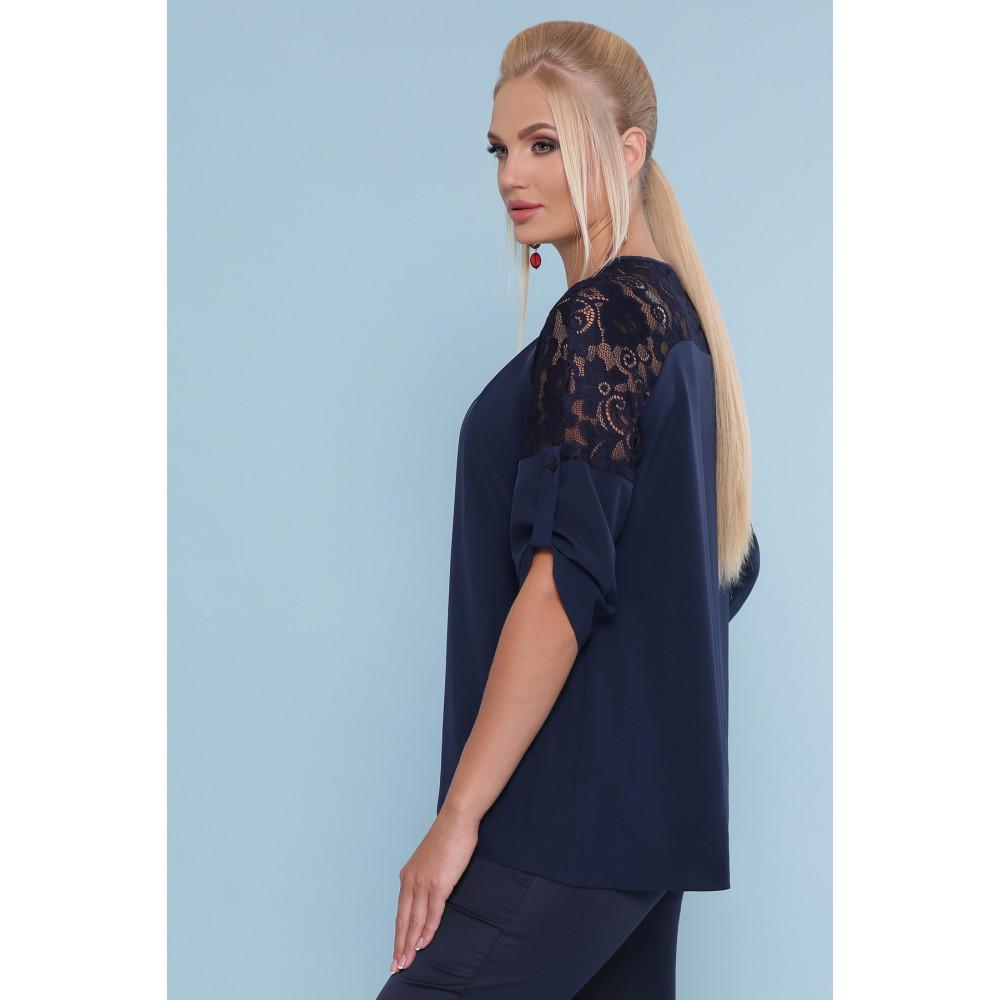 Темно-синяя блузка с кружевом Гретта фото 2
