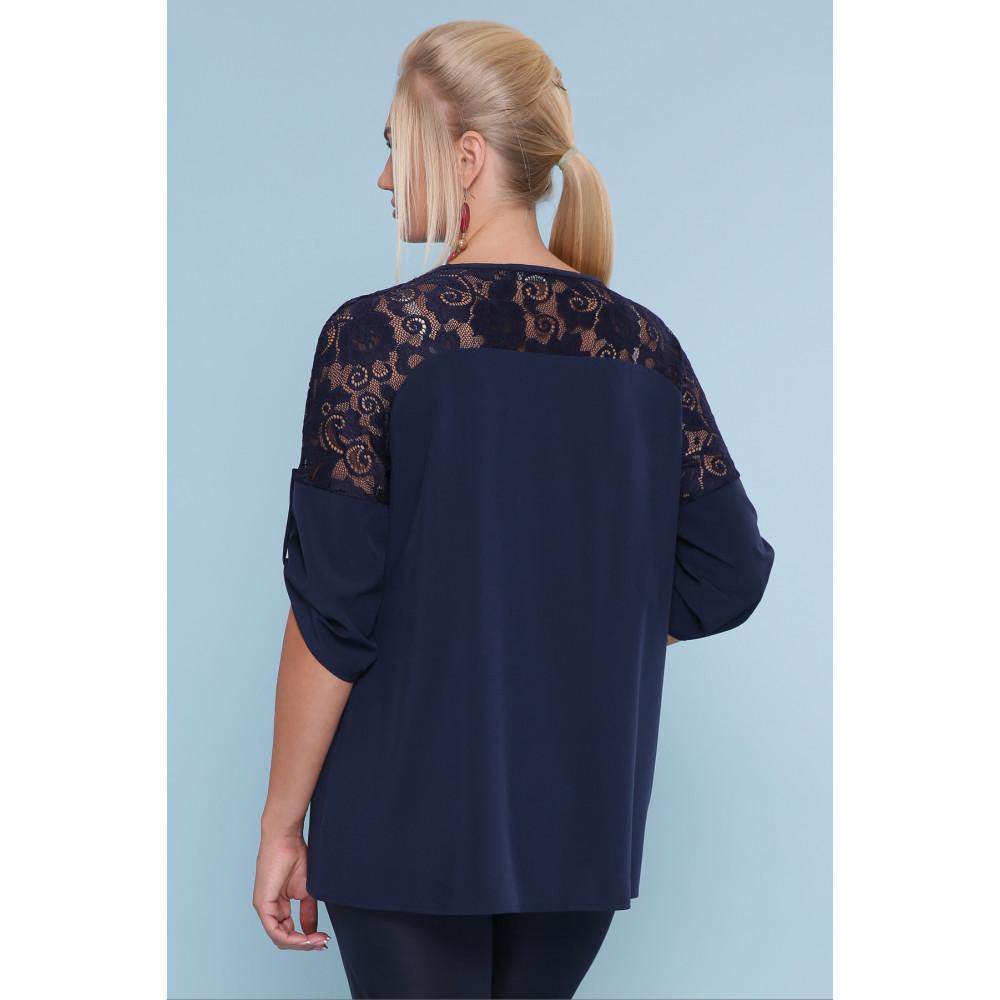 Темно-синяя блузка с кружевом Гретта фото 3