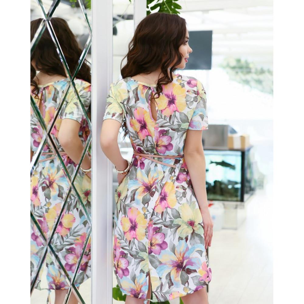 Асимметричное свободное платье в цветочный принт фото 2