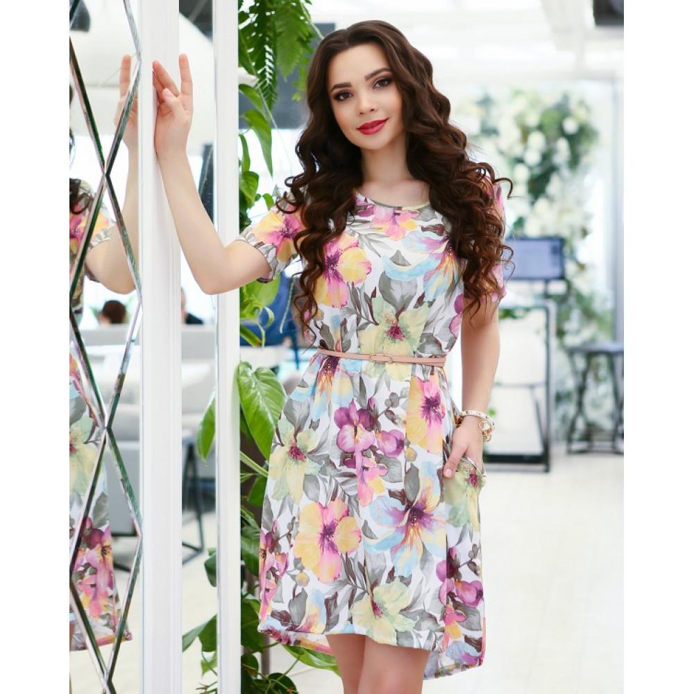 Асимметричное свободное платье в цветочный принт фото 1