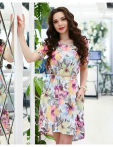 Асимметричное свободное платье в цветочный принт