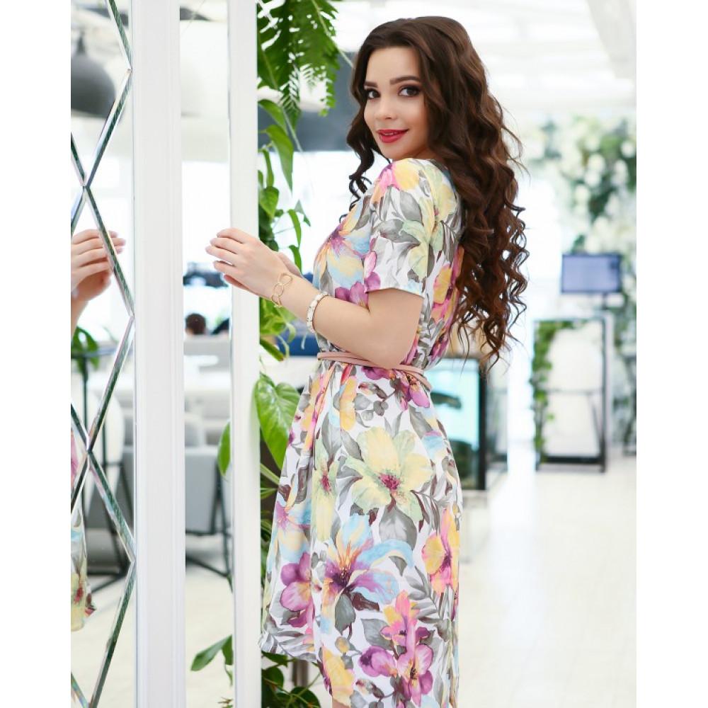 Асимметричное свободное платье в цветочный принт фото 3