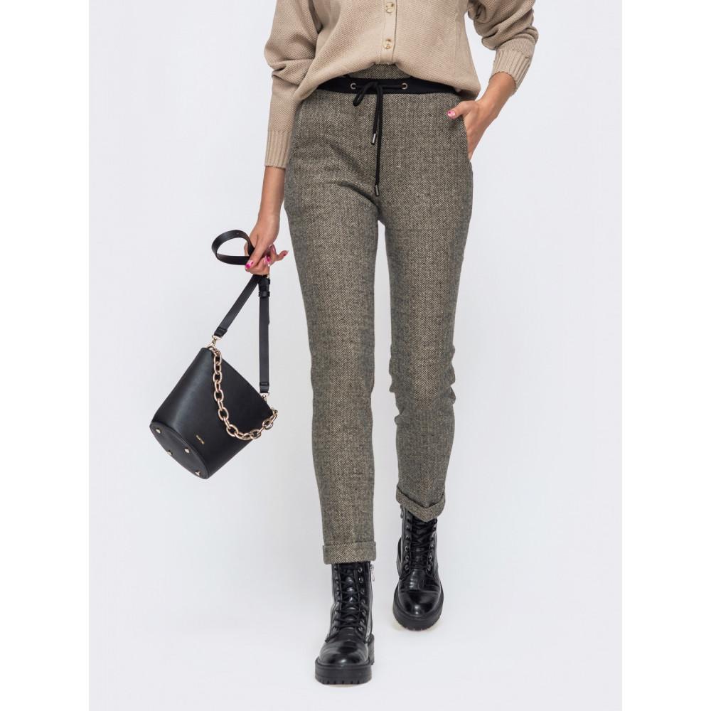 Коричневые брюки с высокой посадкой фото 1