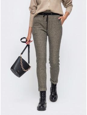 Коричневые брюки с высокой посадкой