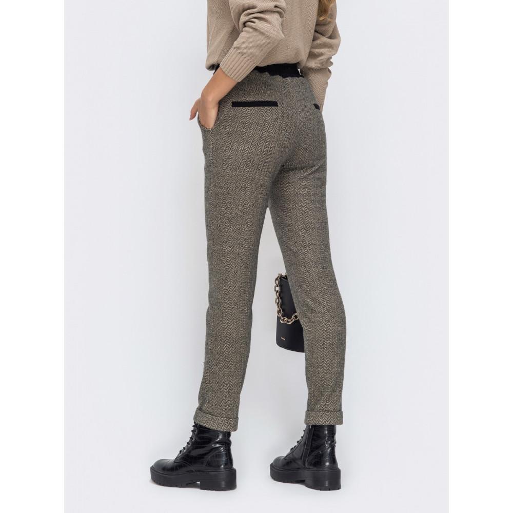 Коричневые брюки с высокой посадкой фото 2