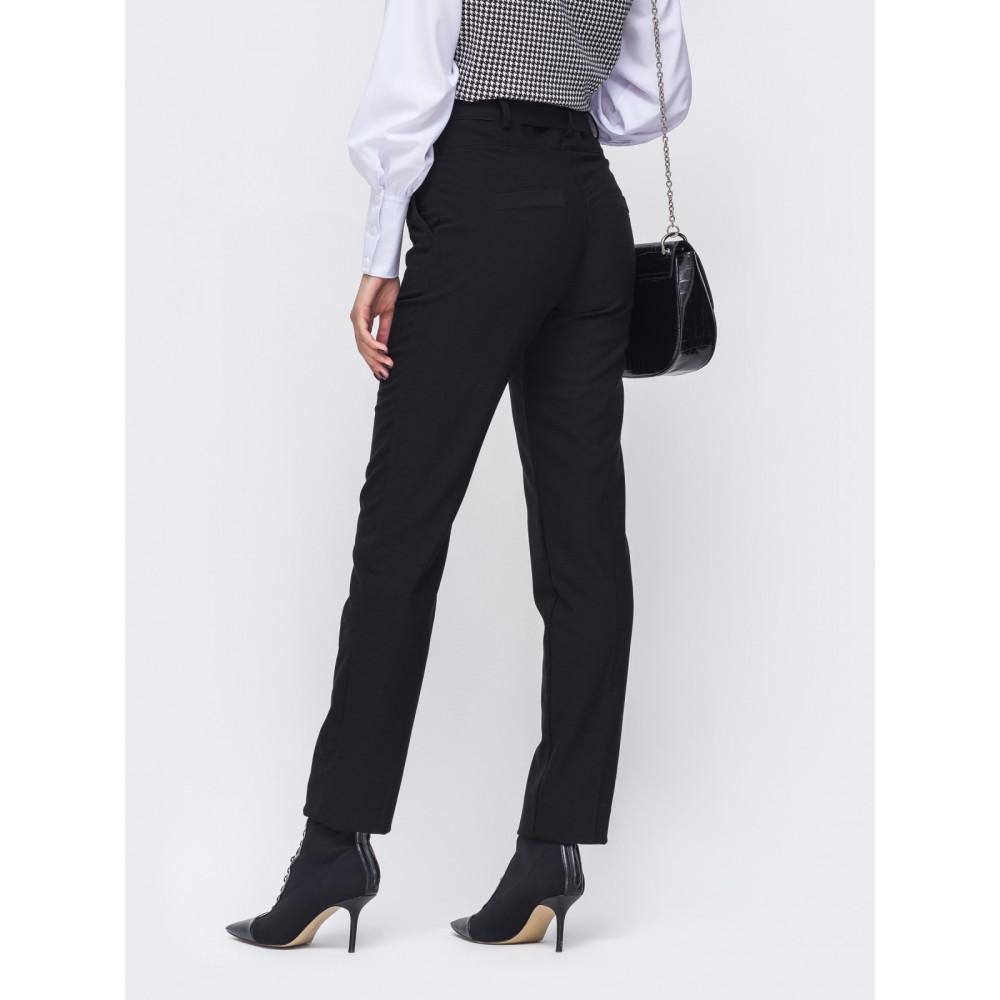 Длинные черные брюки из тиара фото 3