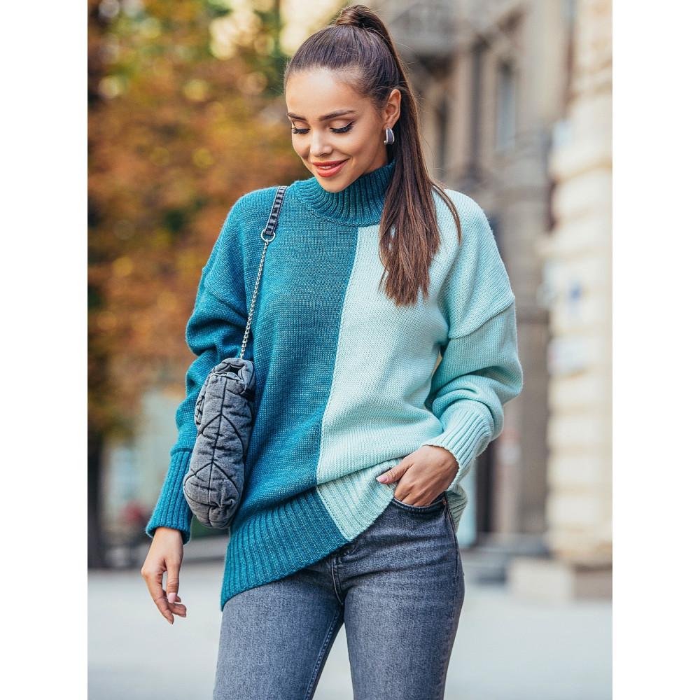 Комбинированный удлиненый свитер Би фото 1
