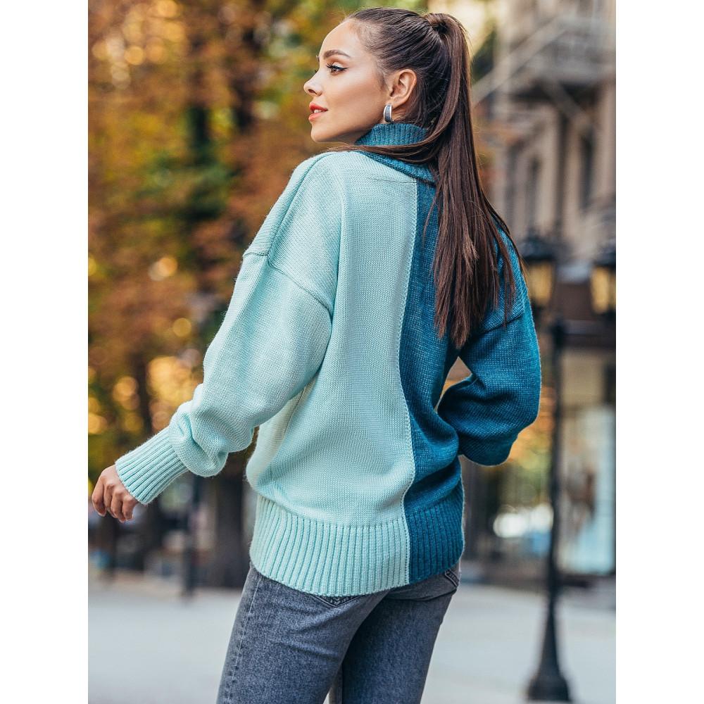 Комбинированный удлиненый свитер Би фото 2