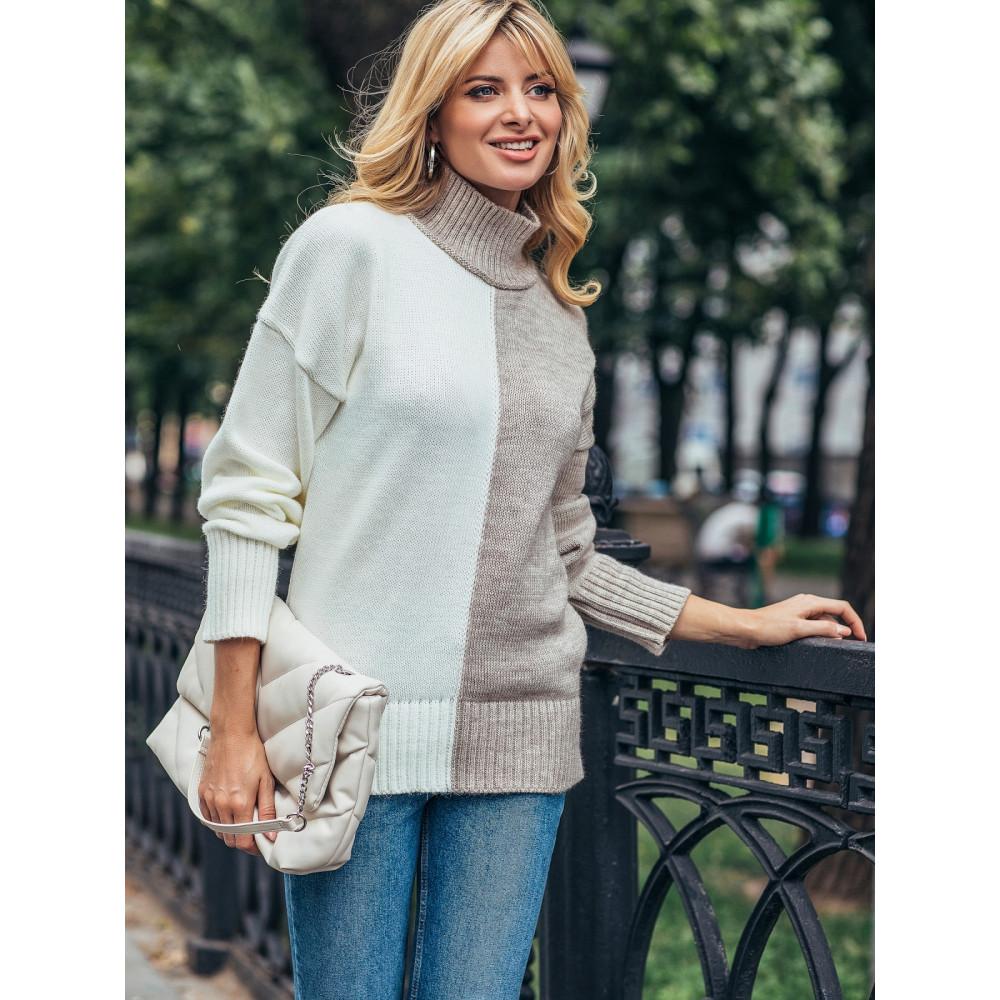Комбинированный бежевый свитер Би фото 1