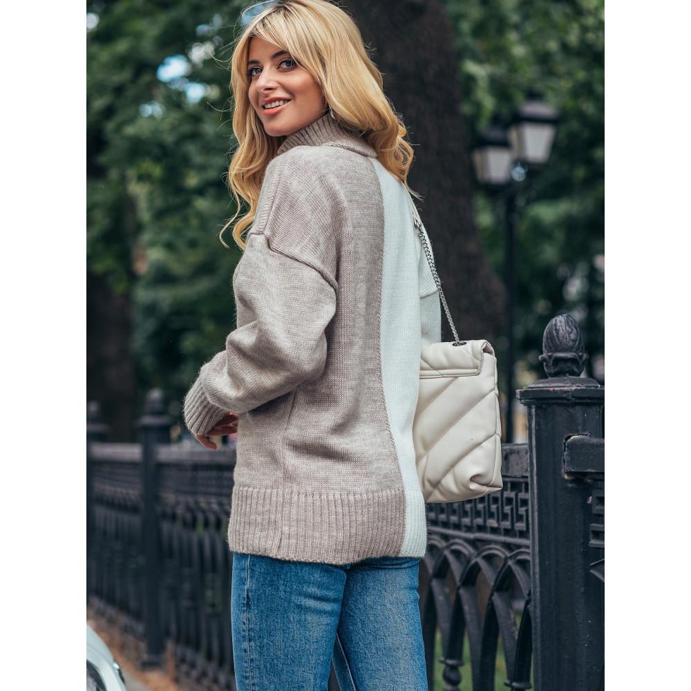 Комбинированный бежевый свитер Би фото 2