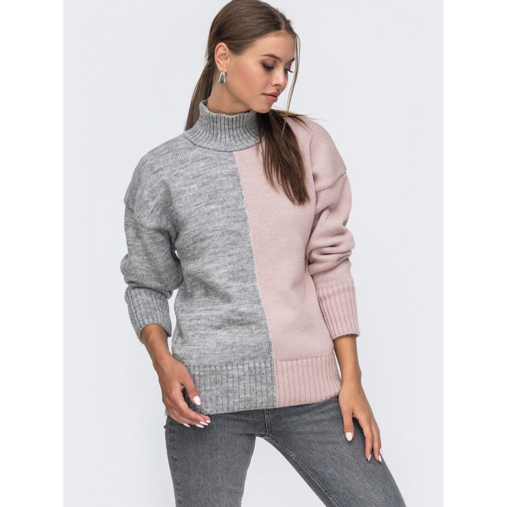 Серо-розовый свитер Би фото 1