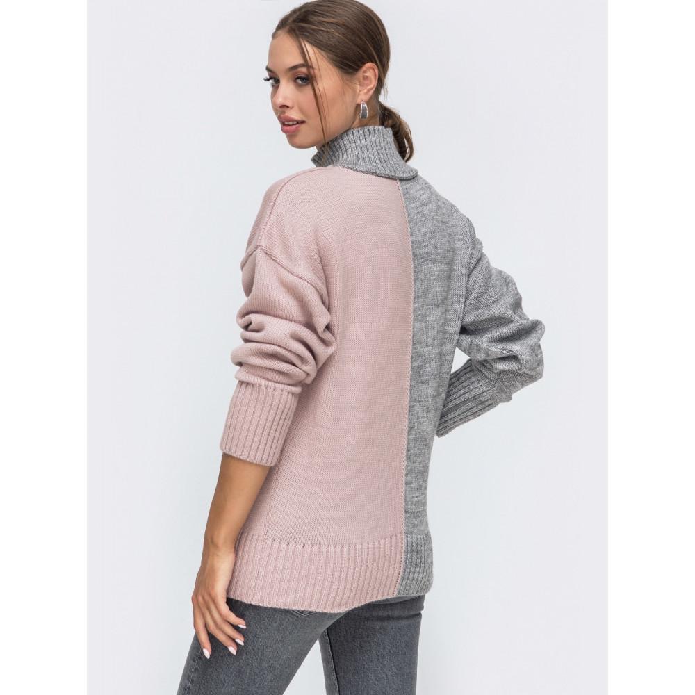 Серо-розовый свитер Би фото 2