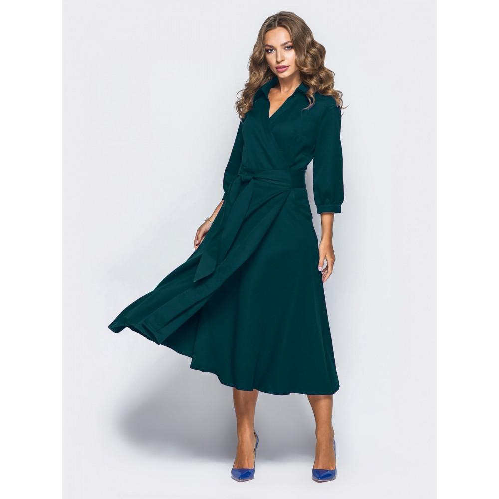 Изумрудное платье - миди на запах фото 1