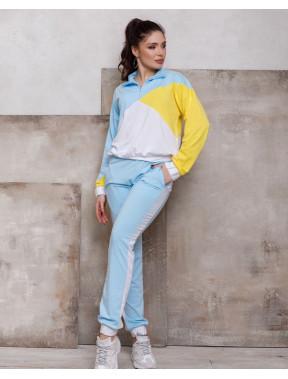 Голубой спортивный костюм в стиле колор блок Боня