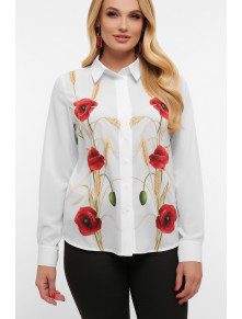Белая блузка с шикарными маками Лекса