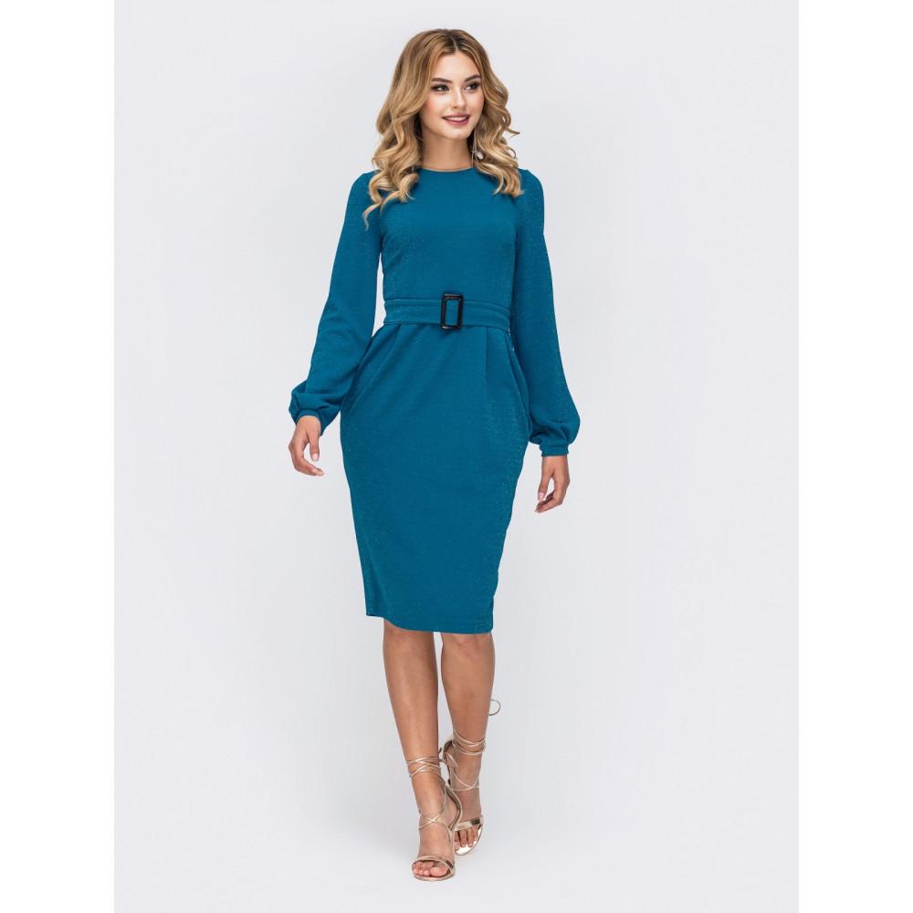 Женственное голубое платье на молнии Адель фото 1