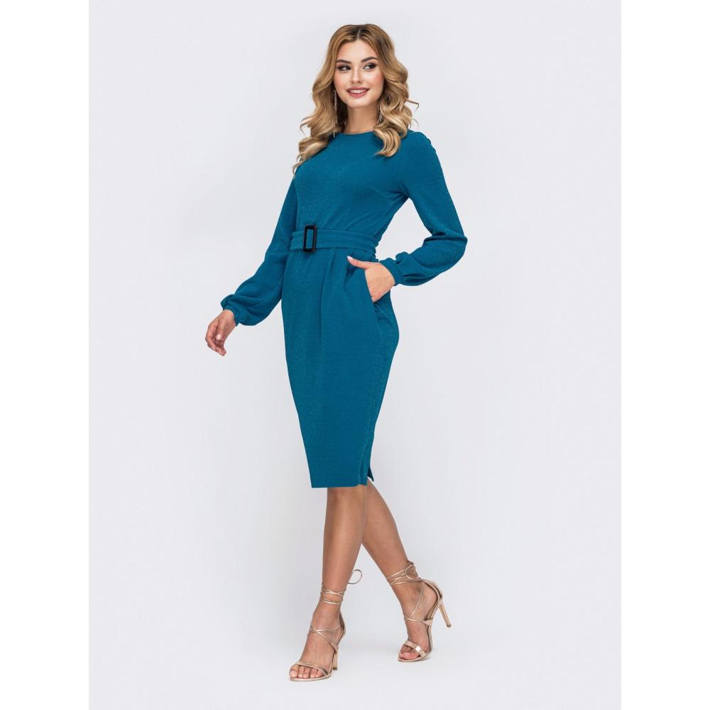 Женственное голубое платье на молнии Адель фото 2