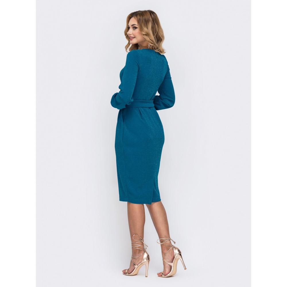 Женственное голубое платье на молнии Адель фото 3