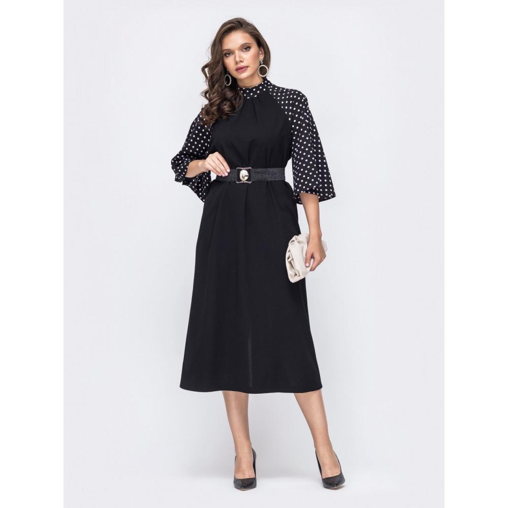 Коктейльное платье-миди с рукавами из шифона фото 1