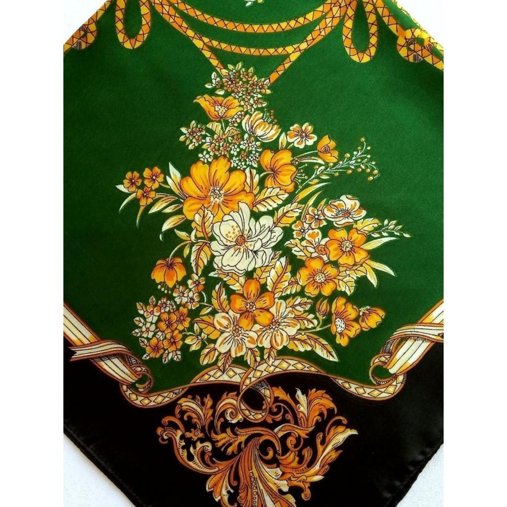 Зеленый шейный платок с принтом фото 2