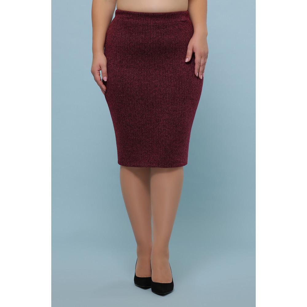 Бордовая зауженная юбка из букле фото 1