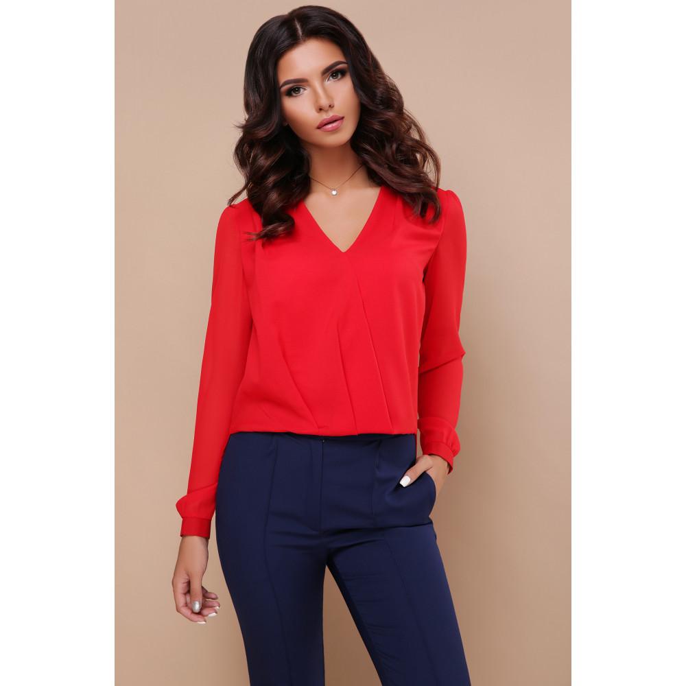 Красная блузка с V-вырезом Айлин фото 1