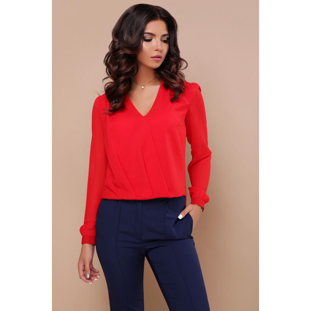 Красная блузка с V-вырезом Айлин фото 2