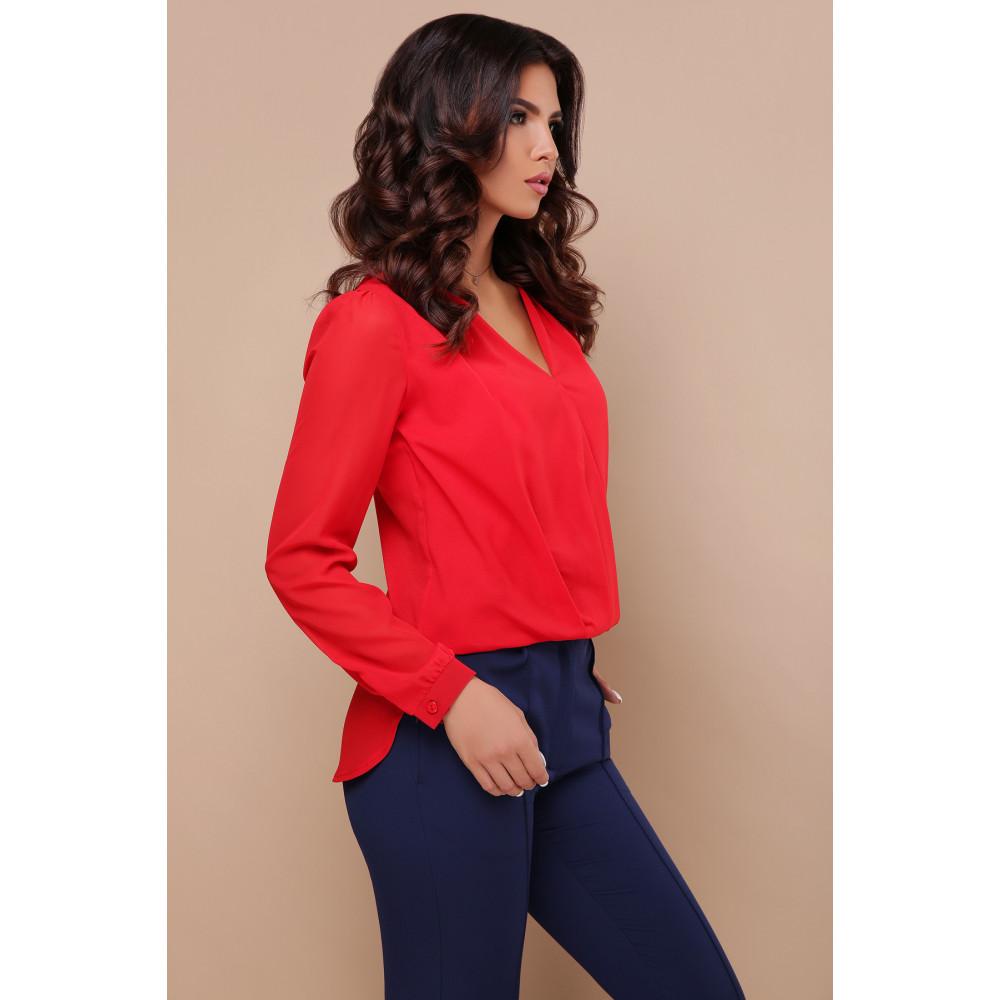 Красная блузка с V-вырезом Айлин фото 3