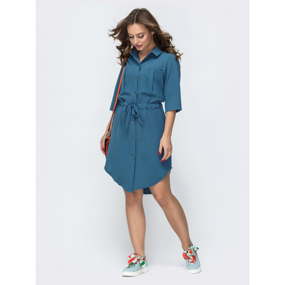 Голубое платье-рубашка Тора фото 1