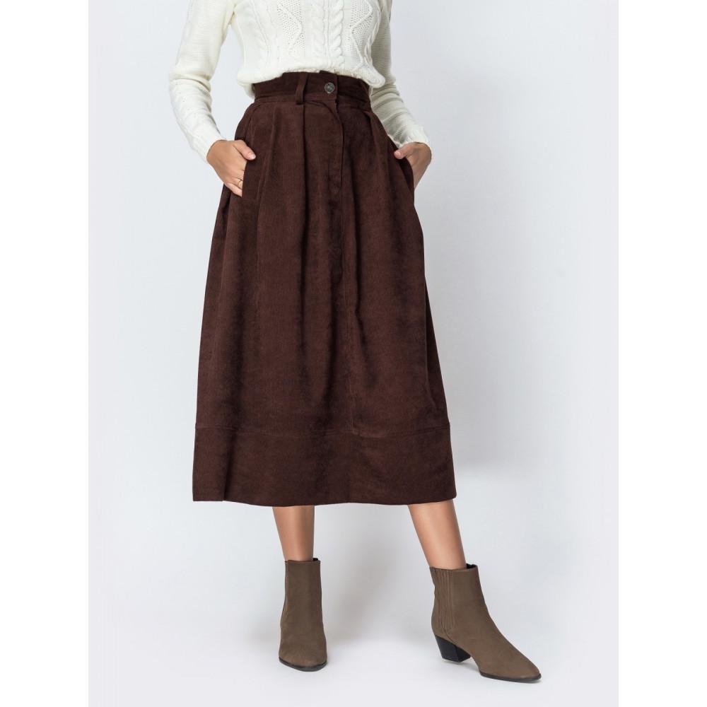 Вельветовая юбка-миди шоколадного цвета фото 1