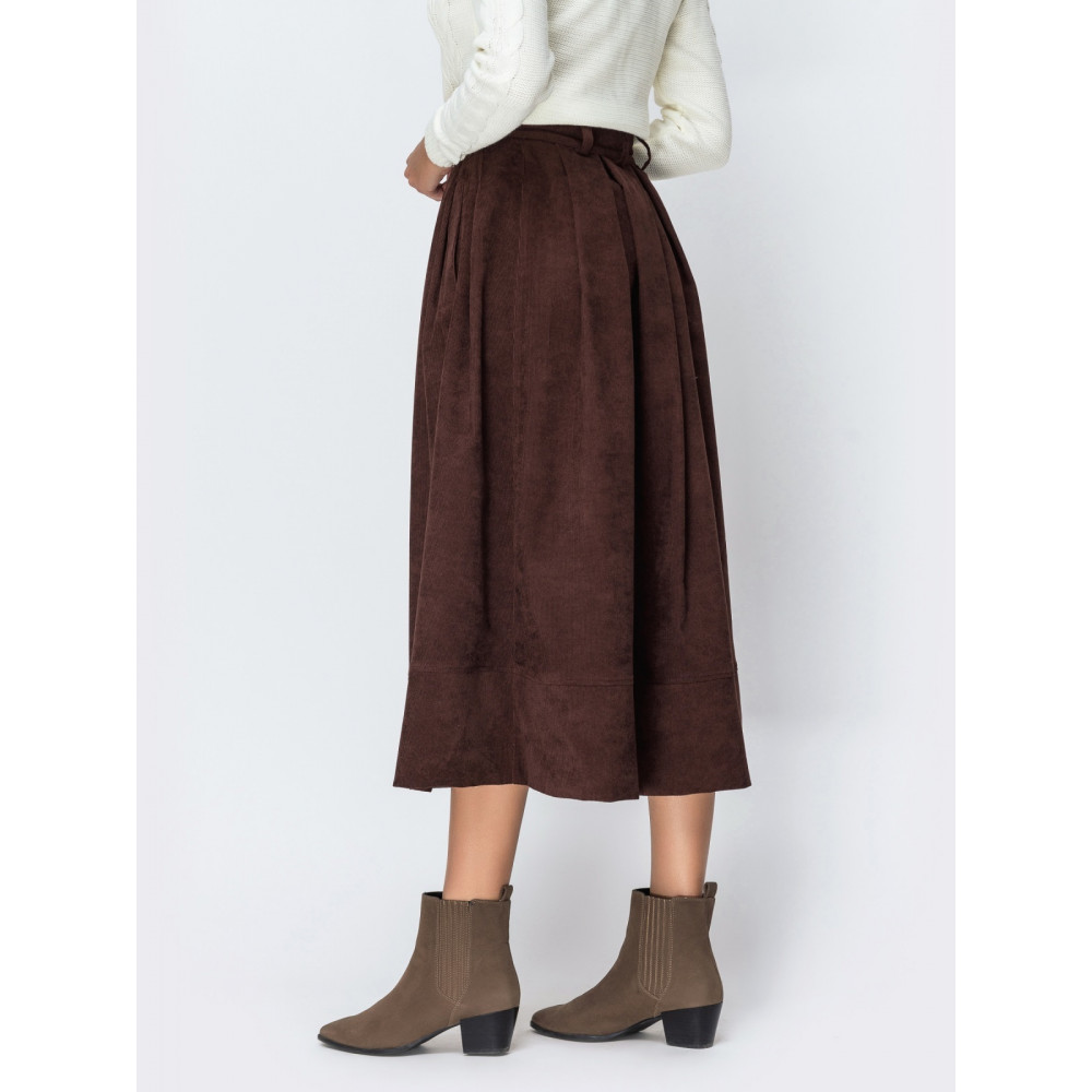 Вельветовая юбка-миди шоколадного цвета фото 2
