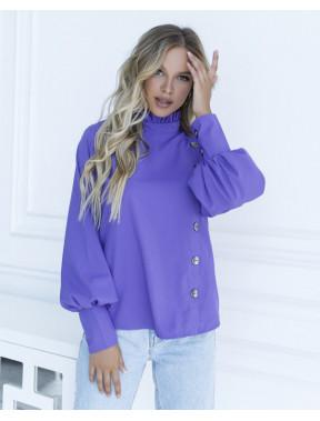Фіолетова блуза з комірцем-стійкою
