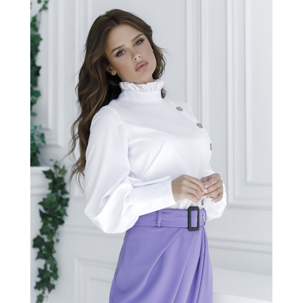 Белая блузка с пуговицами фото 2