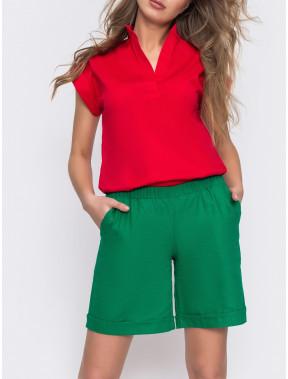 Яскраво-зелені лляні шорти