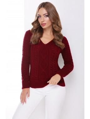 Теплий бордовий светр з V-вирізом