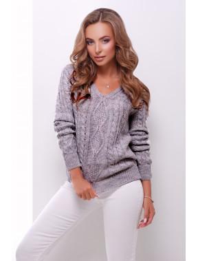 Темно-сірий светр з V-вирізом