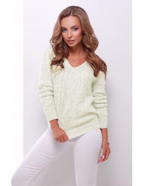 Молочний светр з V-вирізом