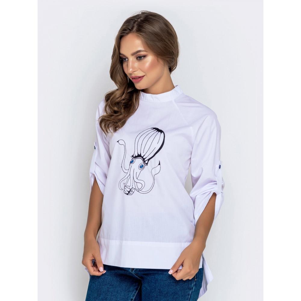 Белая рубашка с вышивкой фото 1