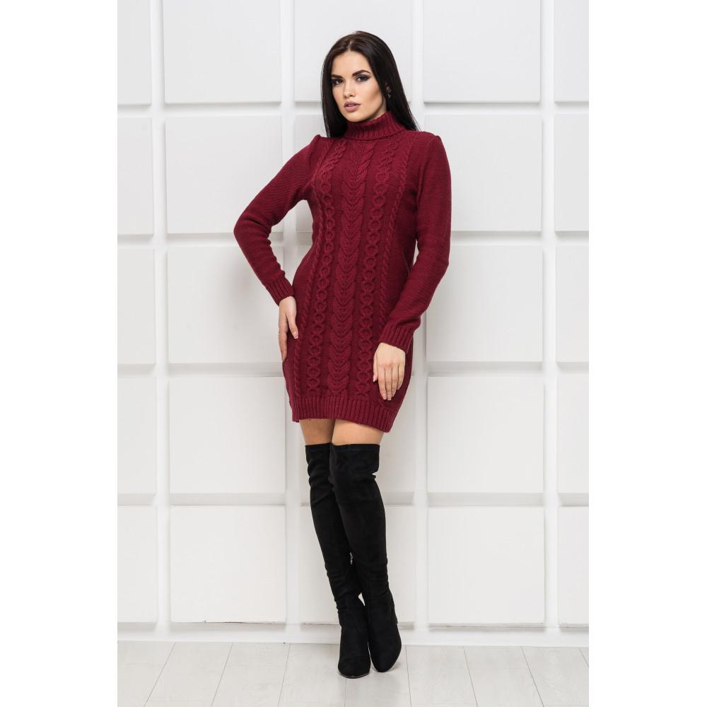 Бордовое вязаное платье Aleksa фото 1