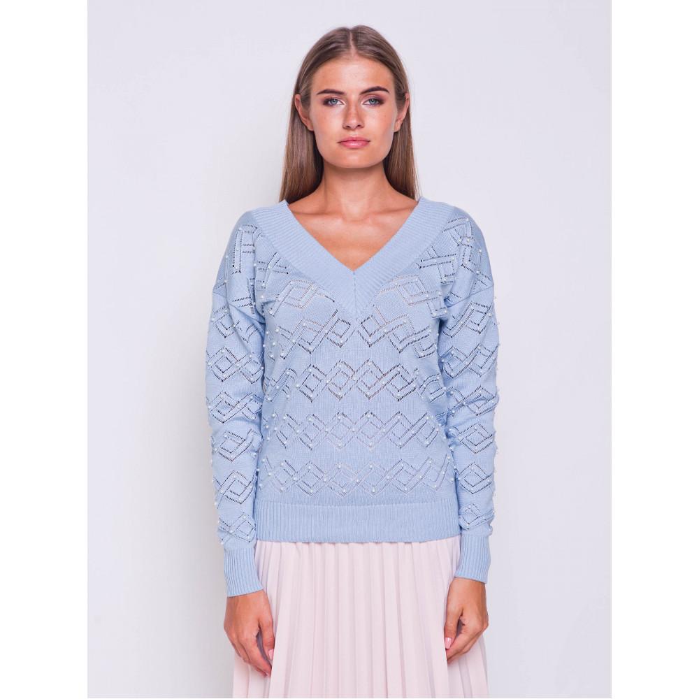 Ажурный пуловер небесного цвета фото 2